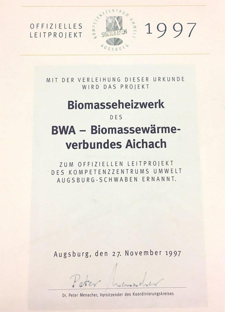BWA Aichach - Urkunde Leitprojekt