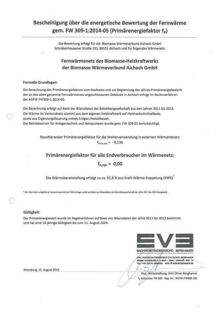 BWA Aichach Primärenergiefaktor Urkunde