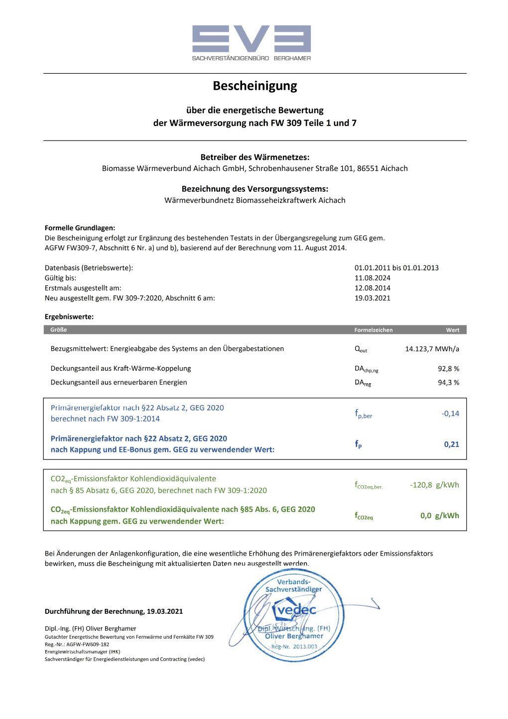SVB-21-04 Ergänzungs-Bescheinigung FW309-1 signiert